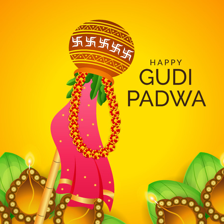 Happy Gudi Padwa text with colorful festival garland illustration.