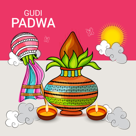 Happy Gudi Padwa greetings with colorful elements on two colored background. Illustration