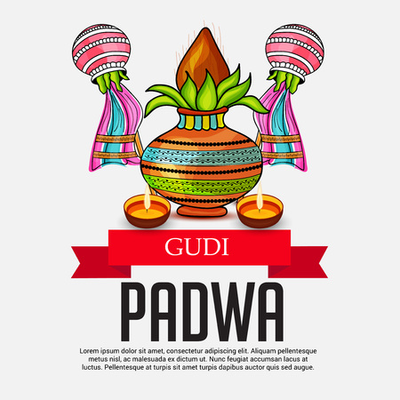Happy Gudi Padwa Greetings with colorful festival elements.