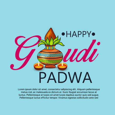 Happy Gudi Padwa greetings with colored festival on colored background. Illustration