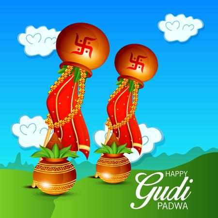 Happy Gudi Padwa with colorful elements illustration.