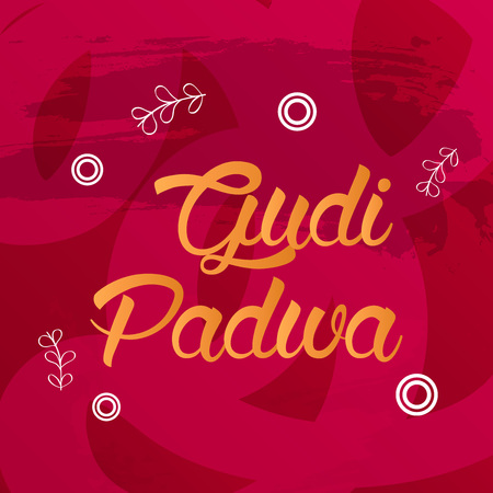 Gudi Padwa text on red background. Illustration