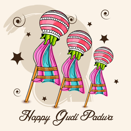 Happy Gudi Padwa, colorful elements with stars accent on background.
