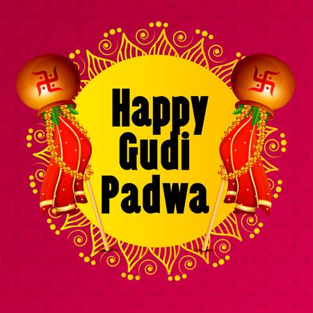Happy Gudi Padwa greetings with colorful festive elements illustration. Ilustração