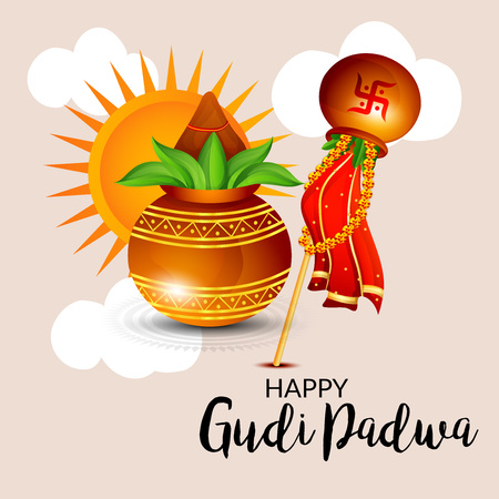 Happy Gudi Padwa greetings with colorful festive elements illustration.