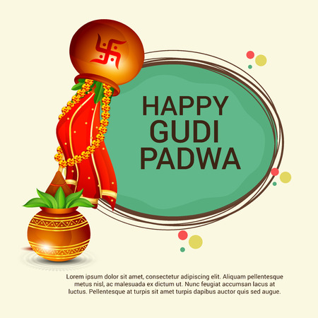 Happy Gudi Padwa greetings on round frame with colorful festive elements illustration. Illustration