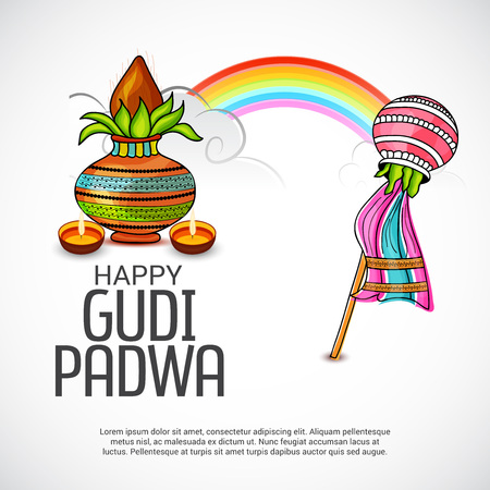 Happy Gudi Padwa greetings with colorful festive elements and rainbow illustration.