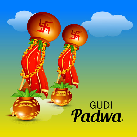 Happy Gudi Padwa greetings with colorful festive elements illustration. Illustration