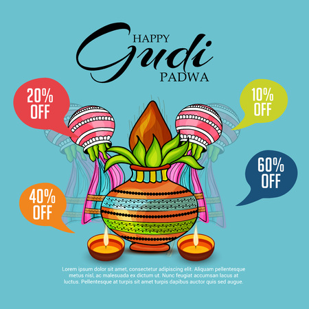 Happy Gudi Padwa greetings with colorful festive elements and sale icons illustration.