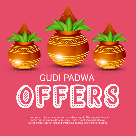 Happy gudi padwa greetings festival offers poster with colored happy gudi padwa greetings festival offers poster with colored festival elements illustration stock vector m4hsunfo