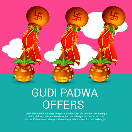 Happy gudi padwa greetings festival offers poster with colorful happy gudi padwa greetings festival offers poster with colorful festival elements illustration stock vector m4hsunfo
