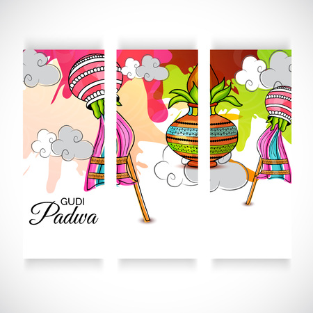 Happy Gudi Padwa greetings with colorful festival elements  in three frame series illustration. Иллюстрация