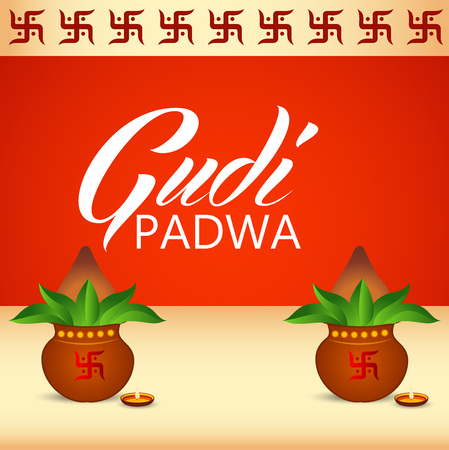Happy Gudi Padwa greetings, with colored festival elements illustration.