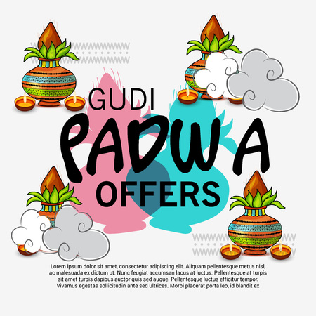 Happy Gudi Padwa greetings, festival offers poster with colorful festival elements illustration.