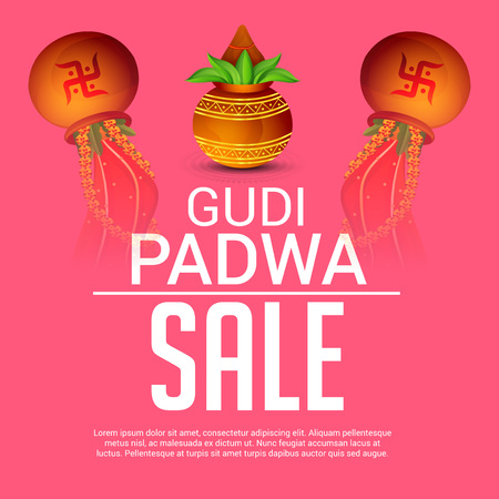 Happy Gudi Padwa, festival offers poster with colorful festival element design. Banco de Imagens - 95999784