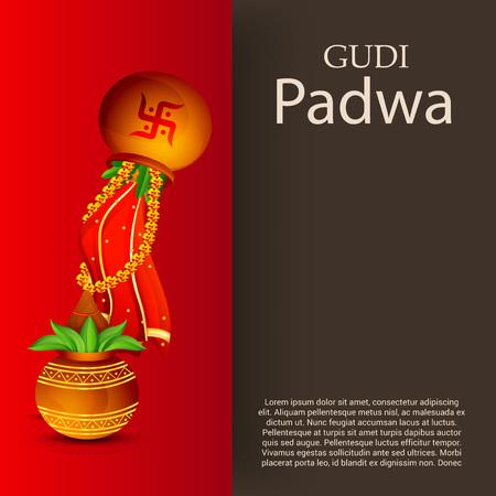 Happy Gudi Padwa with colorful festival element design.