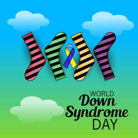 World Down Syndrome Day with socks and ribbon. Vektorové ilustrace
