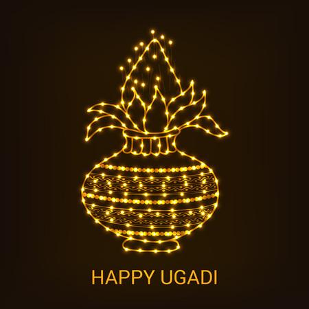 Happy Ugadi creative card concept design Illustration