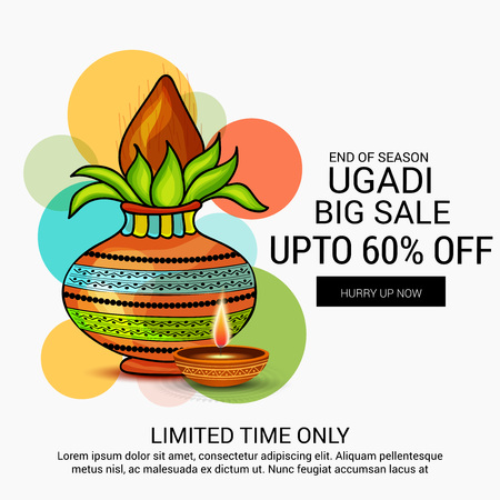 Happy Ugadi creative sale banner  concept design
