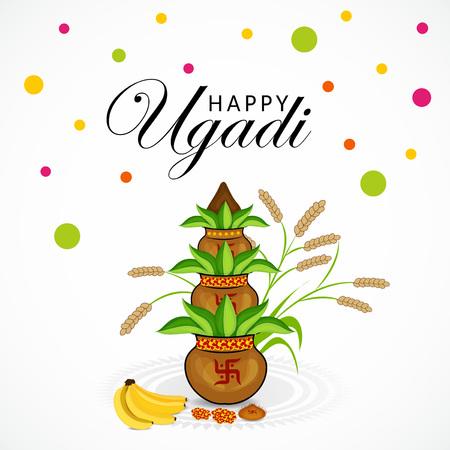 Happy Ugadi isolated on a colorful background. Illustration