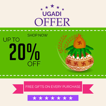Happy Ugadi isolated on a colorful background. Stock Illustratie