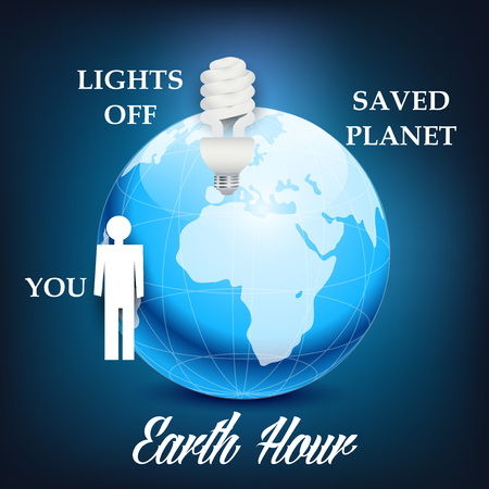 Earth Hour graphic information with Earth, lightbulb and man illustration.
