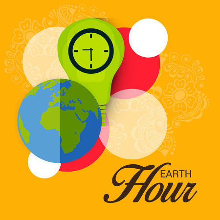 Earth Day text with green light bulb clock design and Earth.