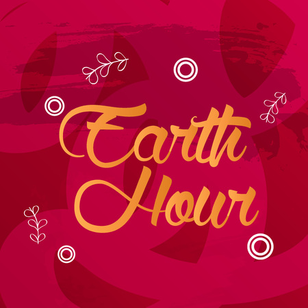 Earth Hour text with circles and leaces accent on red background. Illustration