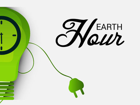 Earth Hour concept illustration with green light bulb clock graphic design.