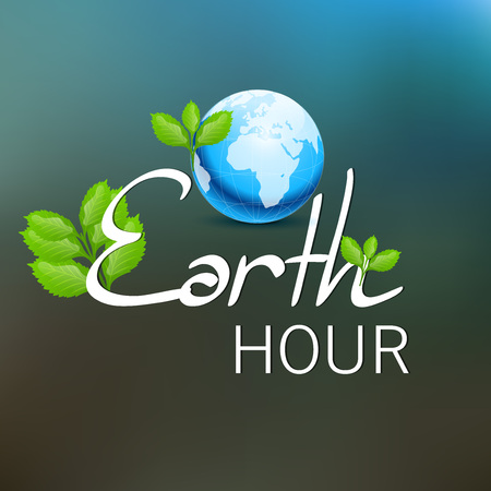 Earth Hour isolated on plain background. Illustration