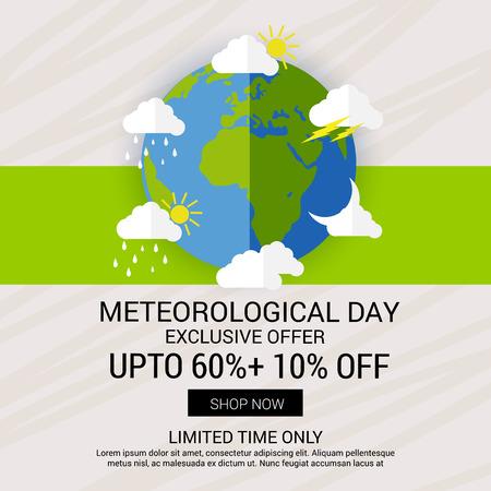 Día mundial de la meteorología. Ilustración de vector