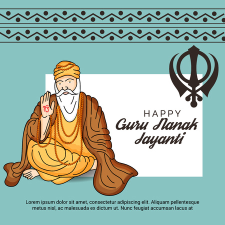 Happy Guru Nanak Jayanti. Vektorové ilustrace