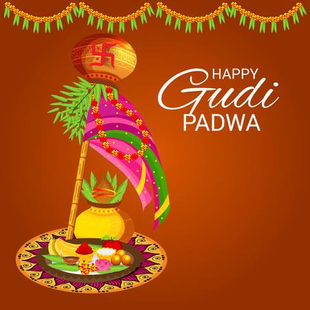 Happy Gudi Padwa. Stock Illustratie