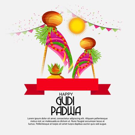 Happy Gudi Padwa colorful creative card design