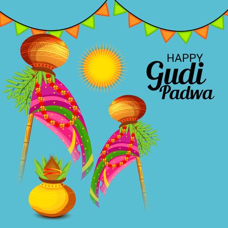 Happy Gudi Padwa. Vector illustration