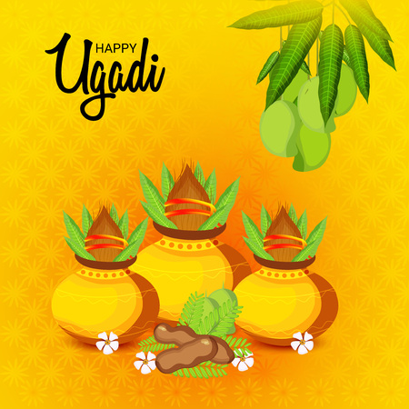 Happy Ugadi Hindu New Year with ornaments and flowers.