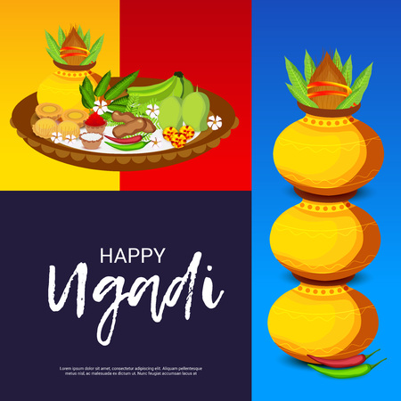 Happy Ugadi Hindu New Year with pots, foods and ornaments. Illustration