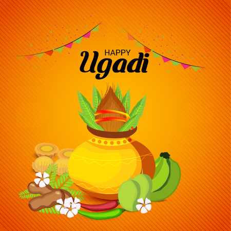 Happy Ugadi Hindu New Year with foods and ornaments.