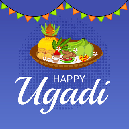 Happy Ugadi Hindu New Year with pots and ornaments.