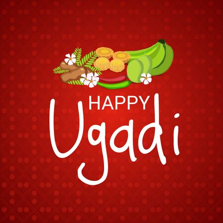 Happy Ugadi Hindu New Year with foods in red background. Çizim