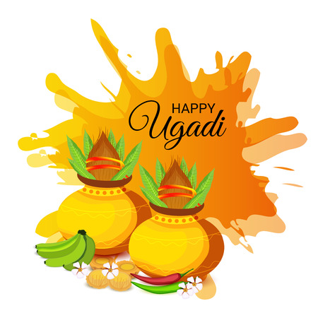 Happy Ugadi Hindu New Year with foods, pots and ornaments.