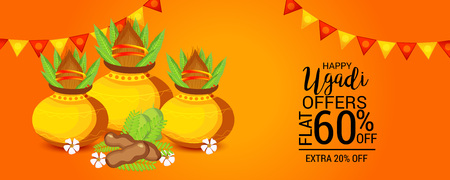 Happy Ugadi banner design concept.