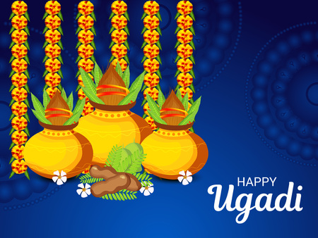 Happy Ugadi poster design concept.