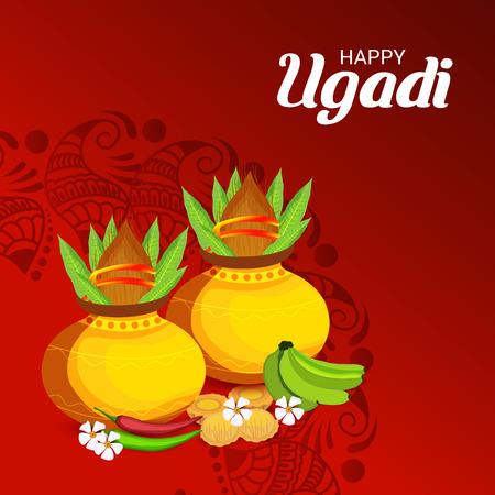 Happy Ugadi poster design. Illustration