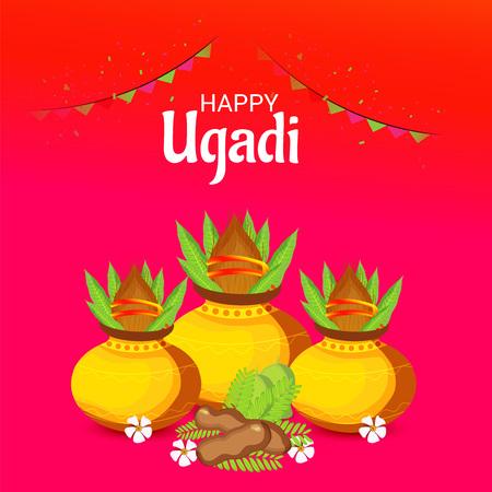Happy Ugadi poster design. Çizim