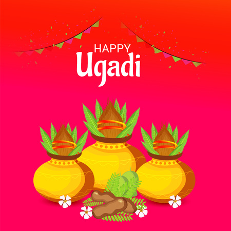 Happy Ugadi poster design. Illustration