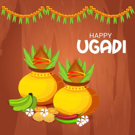 Happy Ugadi design Ilustração