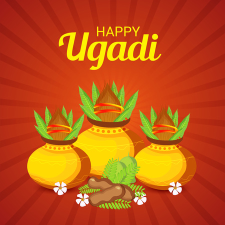 Happy Ugadi design concept Illustration