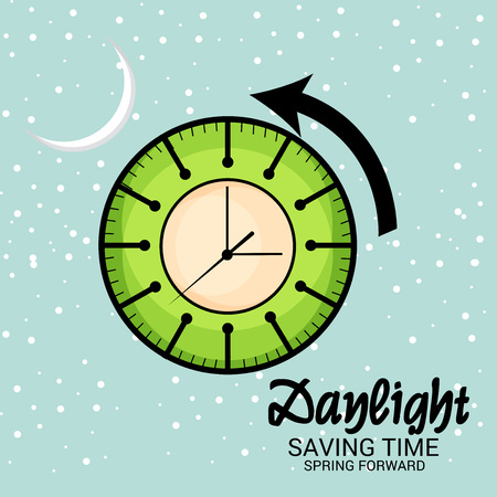 Daylight Saving Time concept with  clock and arrow. Vector illustration. Illustration