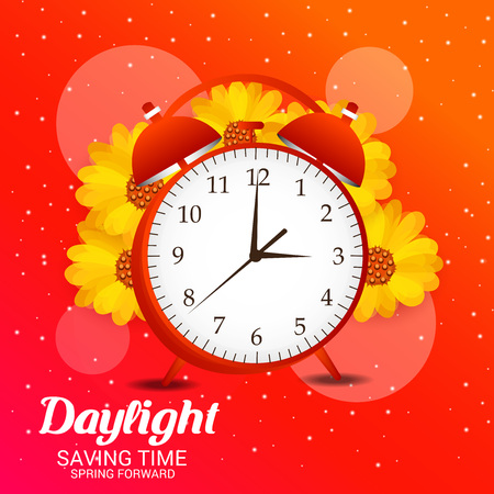 Daylight Saving Time concept with alarm clock and flowers. Vector illustration.